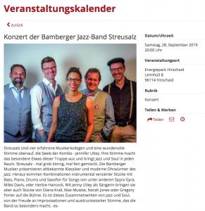 """Vorankündigung in der """"Fränkischen Nacht"""" über unsere Konzert in Hirschaid"""